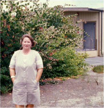 Joan Parker in front of Salinas trailers