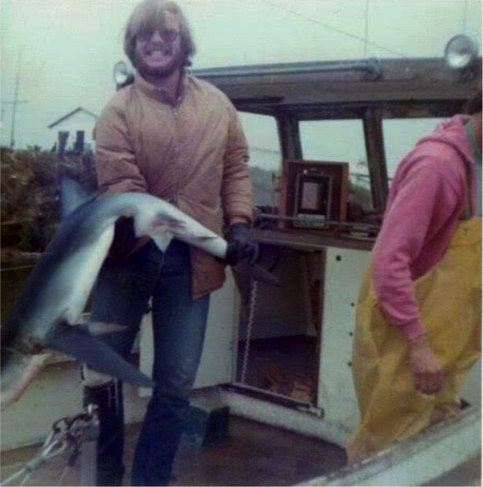 Roger Helm and caught blue shark