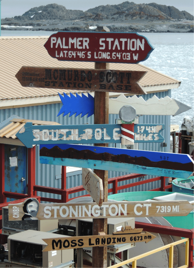 MNLMl sign at Palmer Station
