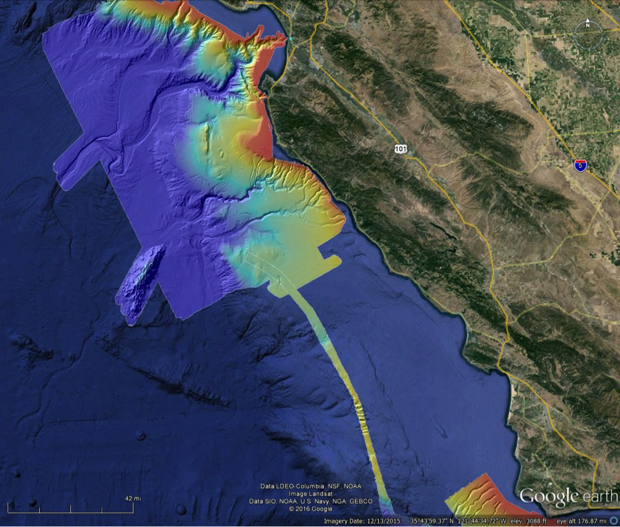Bathymetry in Monterey Bay