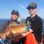 Mike J. and Jimmy W. with a brown rockfish on a CCFRP trip