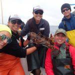 Jackie M., Bonnie B., Jen C., Katie C. and Joaquin C. with a Cabezon on a CCFRP trip