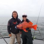 Willie T. and Jen C. with a vermilion rockfish on a CCFRP trip