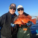 Joan B. and Jen C. holding a copper rockfish on a CCFRP trip