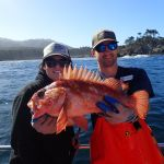 Cheyanna C. and Jimmy W. with a copper rockfish on a CCFRP trip