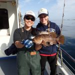 Jen C. and Holly C. with a kelp rockfish on a CCFRP trip