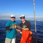 Eddie G. and Ryan F. with a Treefish on a CCFRP trip