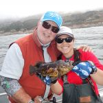 Mike I. and Jen C. with a black and yellow rockfish on a CCFRP trip
