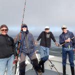 Carol J. DarrellB, David K. and Matt M. taking a fishing break on the bow on a CCFRP trip