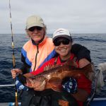 Paul R. and Jen C. holding a Bocaccio Rockfish on a CCFRP trip