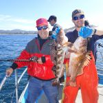 Benny R. and Jimmy W. holding a lingcod and a copper rockfish on a CCFRP trip