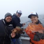 Captain Allen C, Lester Y., and Laurel L. with a quillback and copper rockfish
