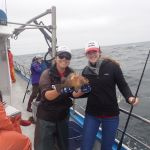Jen C. and Paige B. with a quillback rockfish on a CCFRP trip