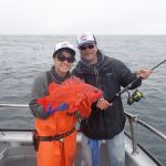 Laurel L. and Lester Y. with a Vermilion Rockfish caught on a CCFRP trip