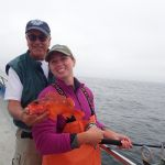 Captain Tom M. and Katie C. with a Rosy Rockfish caught on a CCFRP trip