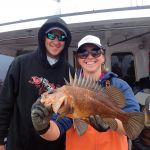 Nick I. and Bonnie B. with a Quillback Rockfish on a CCFRP trip