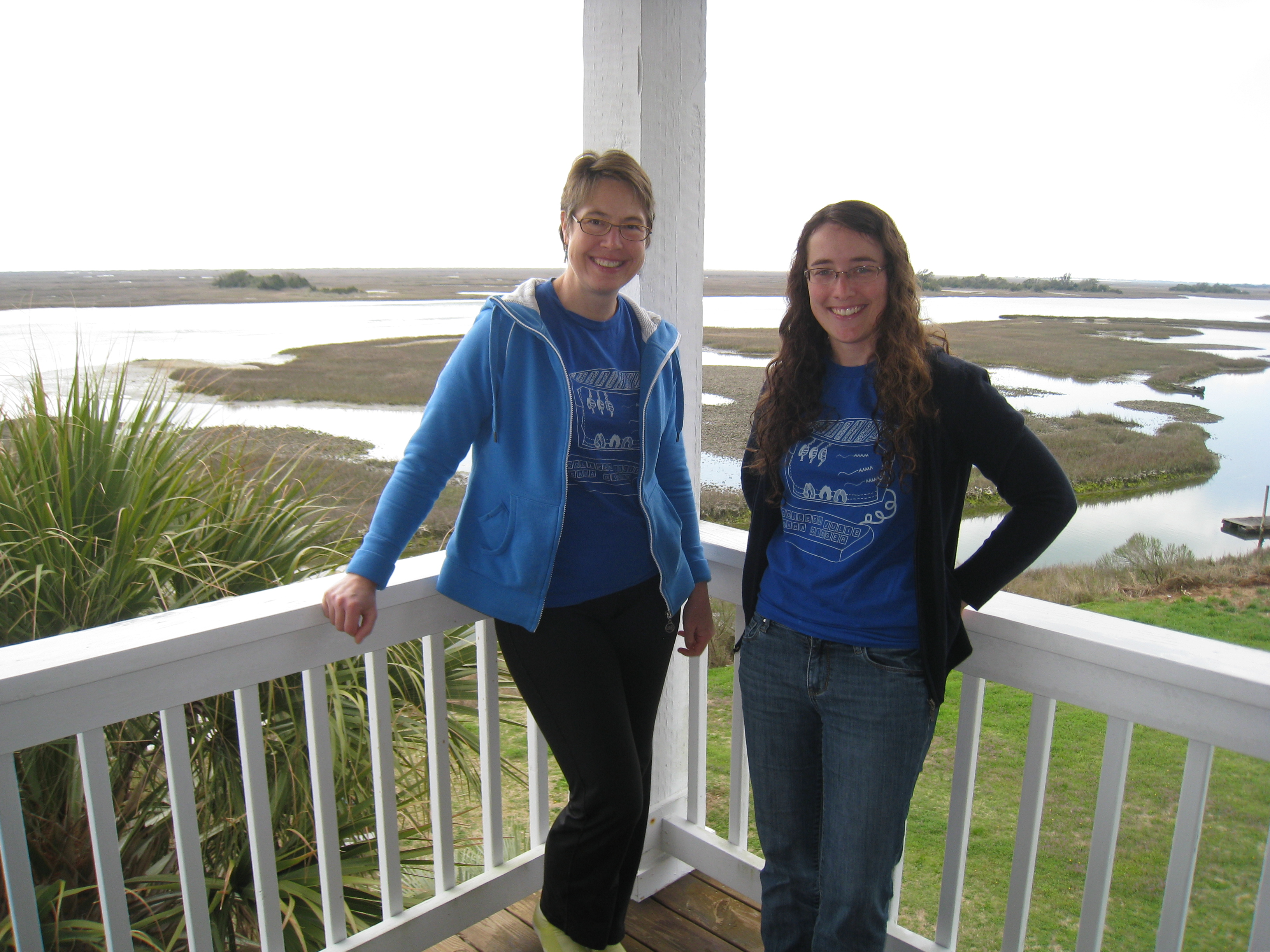 "Visiting Julie in Wilmington, NC to work on the SIT project. ""SIT-in"" T-shirts designed by S. Bender."