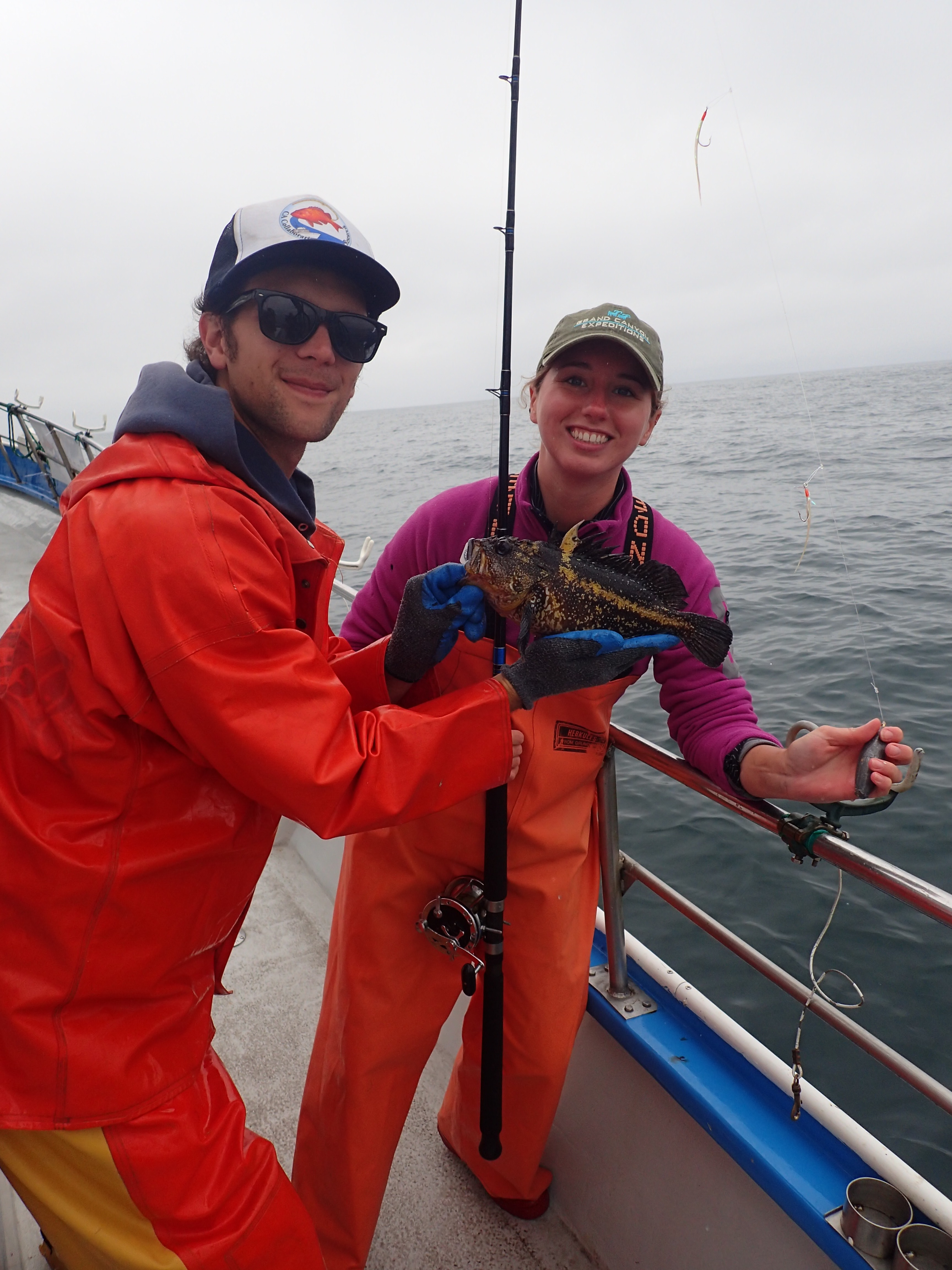 Ryan F. and Katie C. with a China rockfish on a CCFRP trip