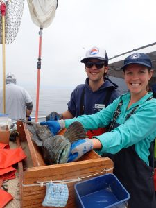 Fields and Satterthwait measuring a lingcod on a CCFRP trip