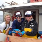 Science crew, FIelds, Brown with a sea cucumber caught on a CCFRP trip