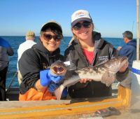 Bonnie and Laurel collecting Lingcod in Southern CA