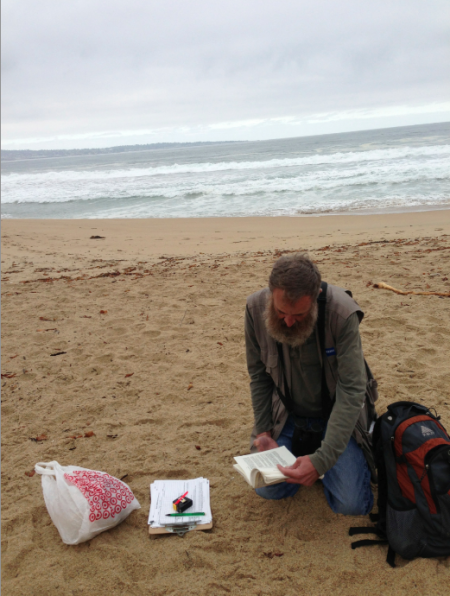 Don Glasco referring to the almighty bird book to identify an unknown species by its toes. Photo by Angela Szesciorka.