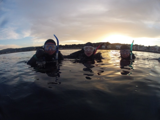 Sunset Diving with Martin Guo, Paul Clerkin and Scott Miller (left to right)