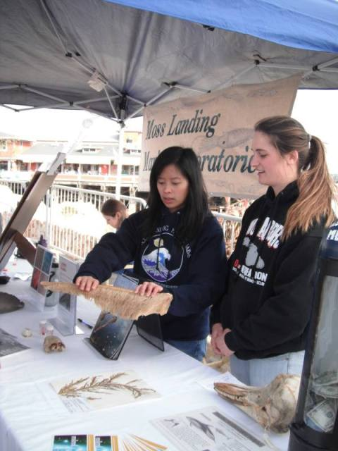 Angela Zepp and PSRC student, Jessica Jang, show off some whale baleen.