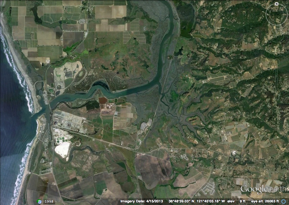Map of Elkhorn Slough, from Google Earth