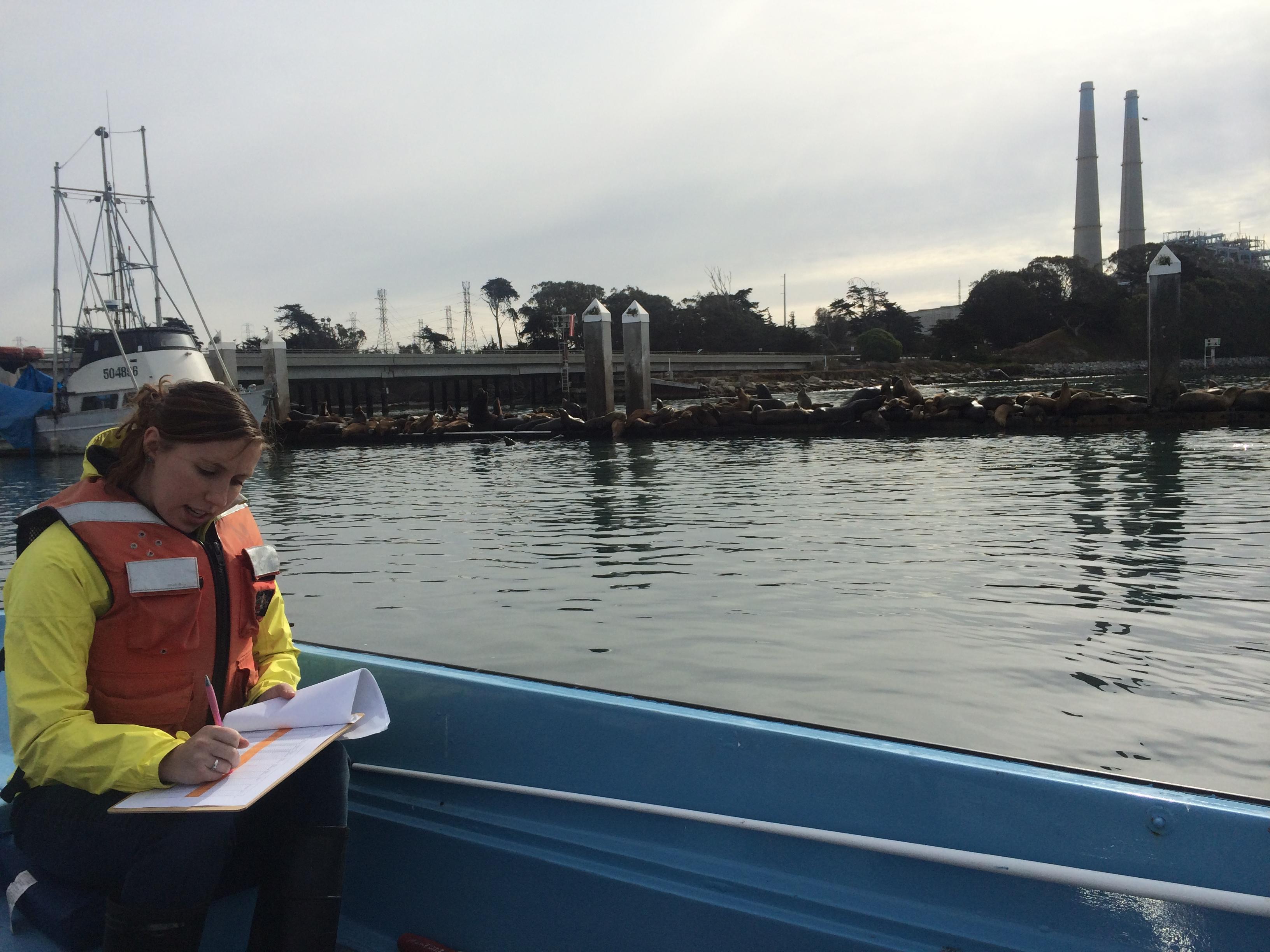 Emily recording CTD measurements