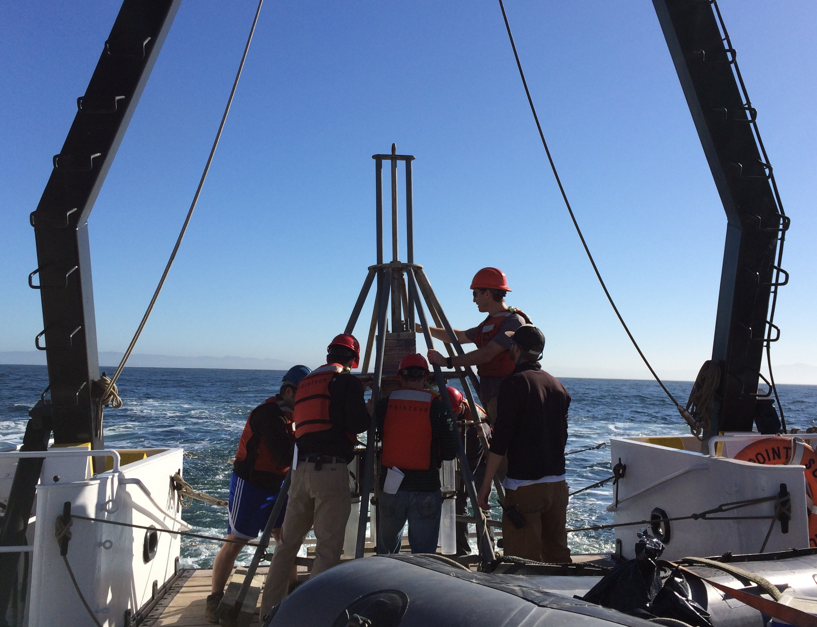 Chemical oceanography students prepare the multi-corer