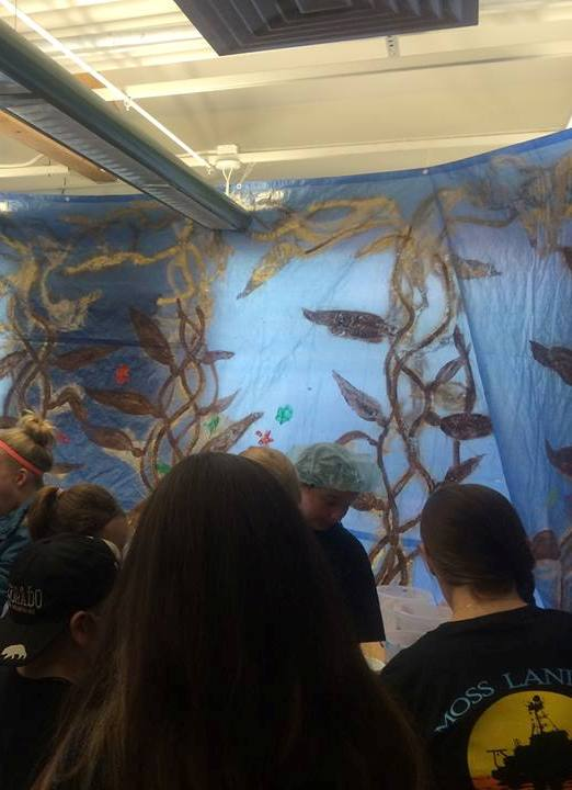 The phycology lab and their painted kelp forest attracts visitors. Or was it the ice cream? Photo Credit: Heather Kramp