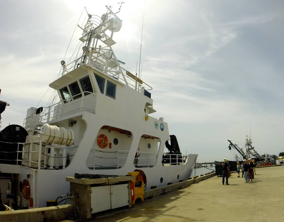 R/V Point Sur ready to take aboard visitors for tours on a sunny Moss Landing day.