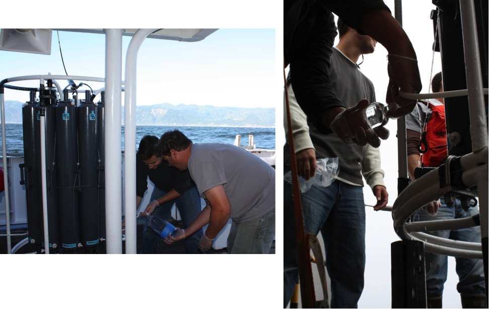 MPSL analysts John Negrey and Chris Beebe collect CTD water samples (Photos by Diana Steller)