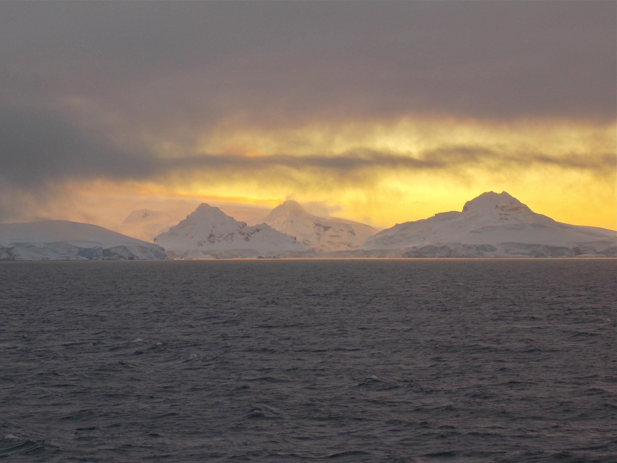 Antarctic sunset: sunset near Croker Pass.