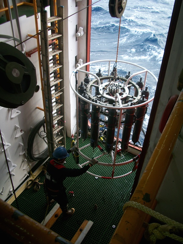 This is the CTD (an instrument that measures conductivity, temperature and depth) getting ready to enter the water.