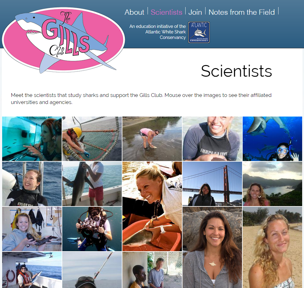 Gills Club webpage featuring their long list of female shark scientists collaborators.