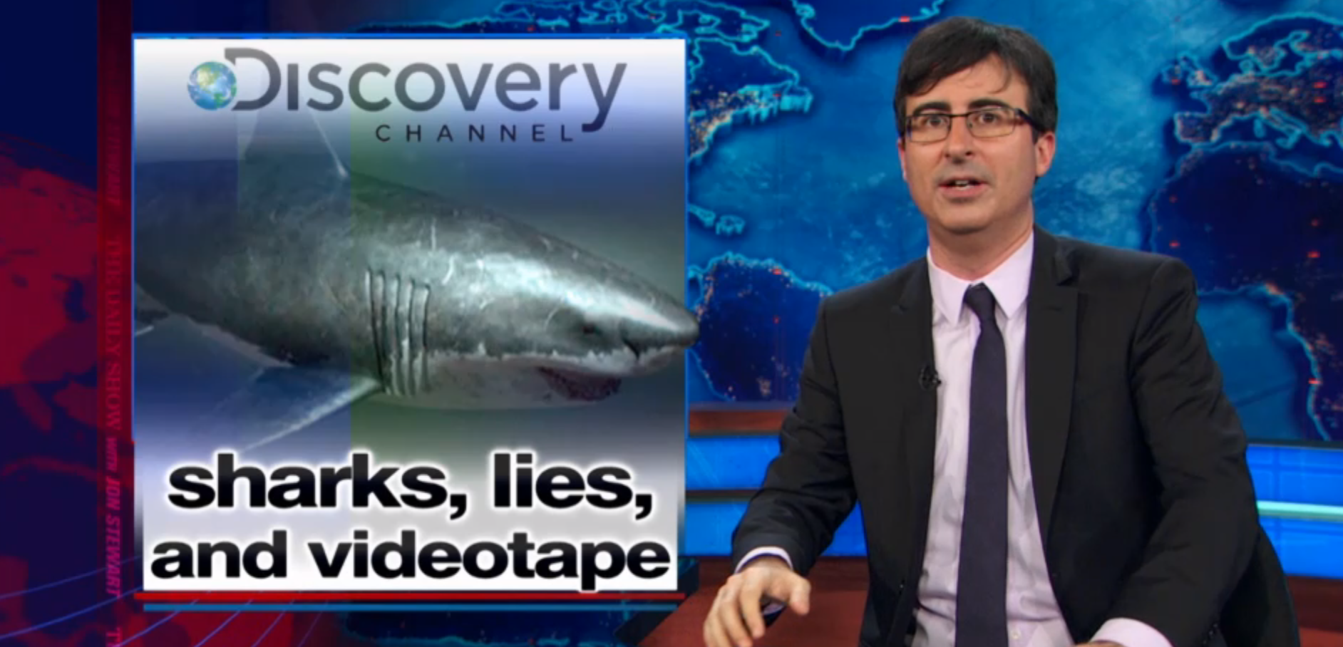 Comedian and host of Last Week Tonight, John Oliver weighs in on misleading shark programming.