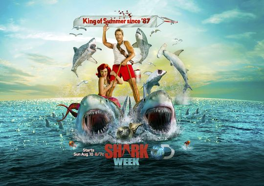 Shark Week's 2014 campaign, King of Summer used a comical caricature of a shark expert.