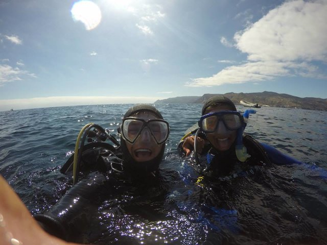 Erika Nava and me on the surface before one of our collection dives.
