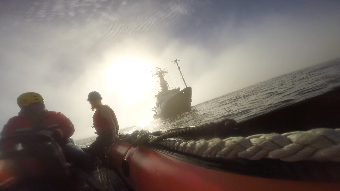 Able Seaman Pat Breshears of Oregon State University's R/V Oceanus shuttles Holly Chiswell and Alex Olson out into the haze to collect sea surface microlayer samples offshore of Northern California.