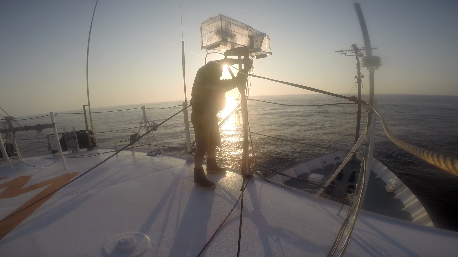 Collecting fog samples shortly after escaping an offshore fog bank.