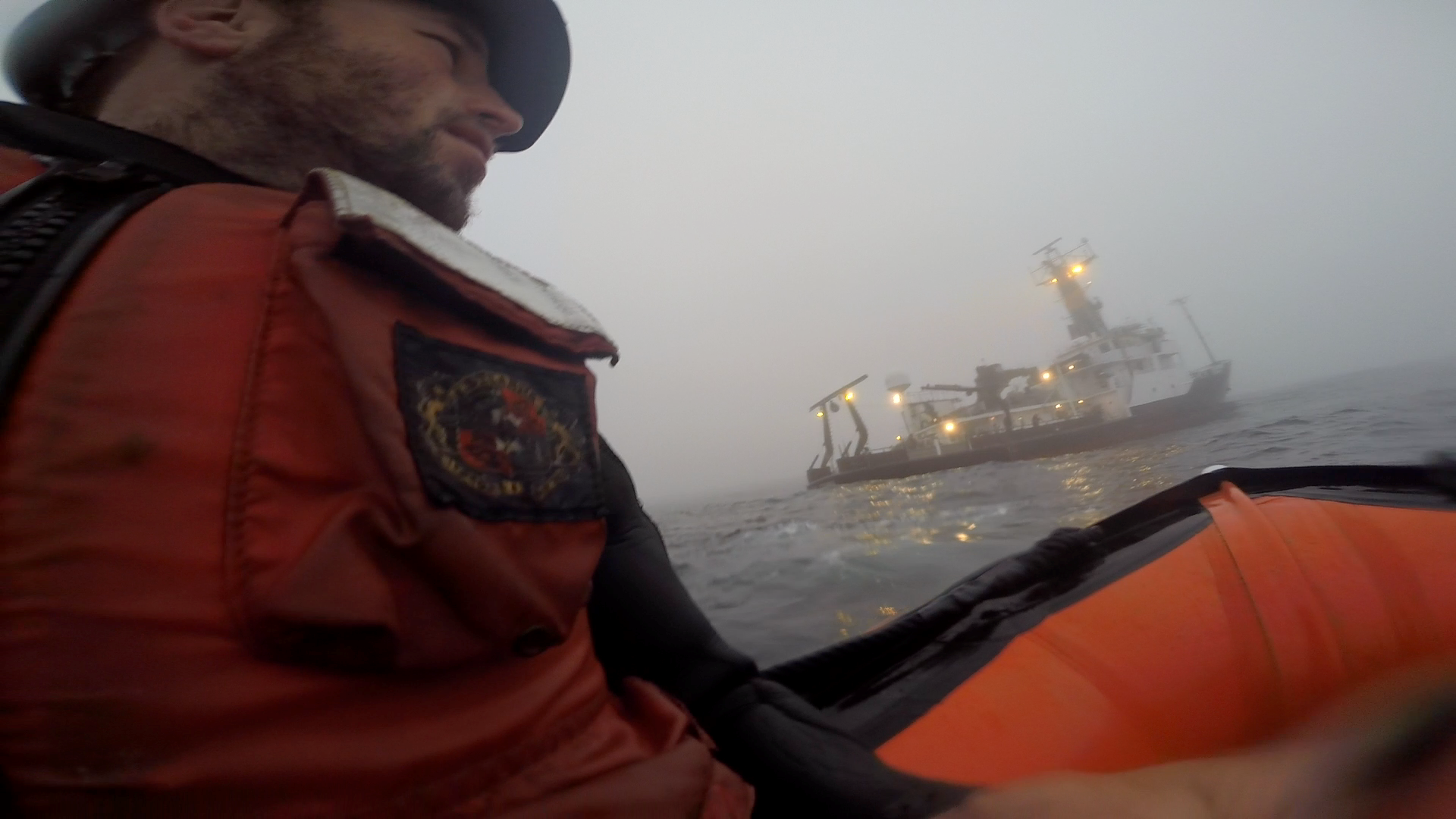 Returning to the R/V Oceanus after microlayer sampling.