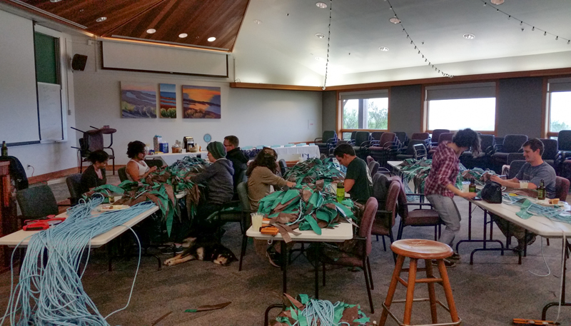 Kelp Helpers working through the weekend to get this forest built! Photo: Lindsay Cooper