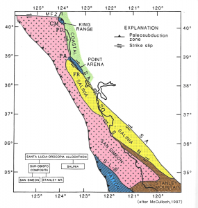 The San Andreas fault (SA) lays to the east of Monterey Bay with the western side moving northward and the eastward side moving southward. MLML is located on the Salinian Block of granite (in yellow).
