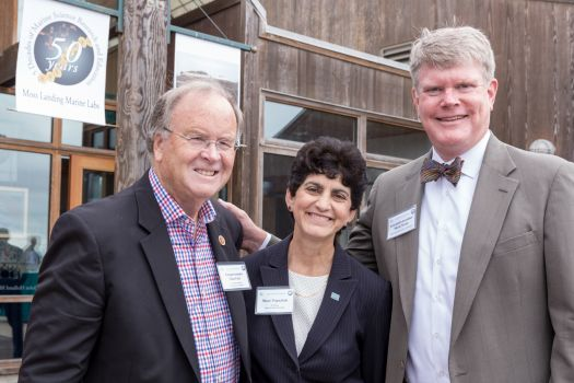 L to R: Congressman Sam Farr, President of SJSU Mary Papazian, Assemblyman Mark Stone