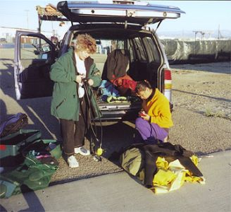 Linda Kuhnz (on left) preparing for a dive, obviously dive gear is not needed for  studying legless lizards.