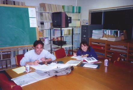 Figure 1. Tomo Eguchi and Erica Burton doing Statistics Class homework in Salinas trailer study room (which also served as journal and map storage, TV room, computer lab, copier room, snack and soda machine vending, and lounge area).