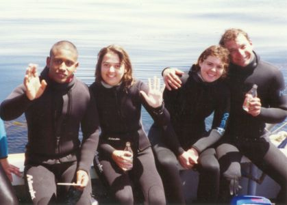 Figure 4. John Heine's Dive Class aboard R/V Ricketts. Pictured left to right: Tony Orr, Erica Burton, Michele Jacobi, Matt Edwards.