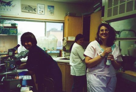 Figure 5. Fish-ageing quarter of the Ichthyology Lab Trailer. Pictured left to right: Korie Johnson, Schaeffer, Dawn Outram, and Julie Neer.